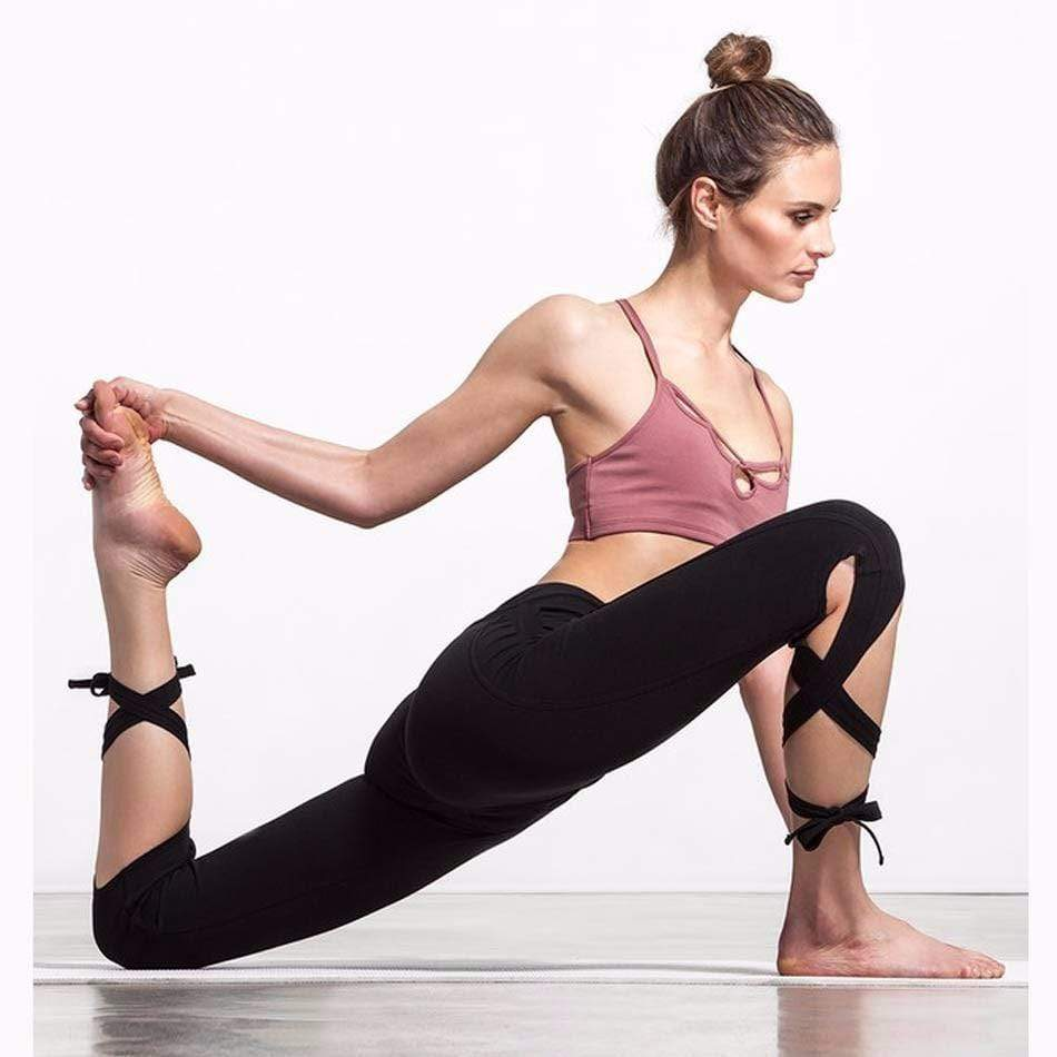 yoyoyoyoga.com Leggings Wrap-around Yoga Dance Ballet Laced-up Leggings