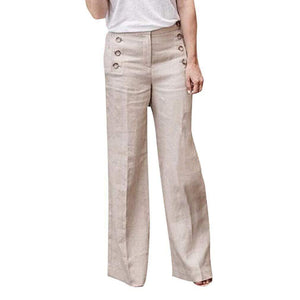 yoyoyoyoga.com Palazzo Pants Beige / S Cotton Linen Solid Color Casual Button Wide Leg Pants