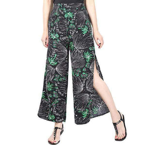 yoyoyoyoga.com Palazzo Pants Black / M Ladies Vintage Slim Wide Leg Split Casual Pants