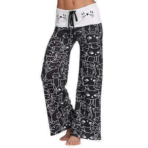 yoyoyoyoga.com Palazzo Pants Black / S Cat Print Beach Lounge Pajama Pants Yoga Pants