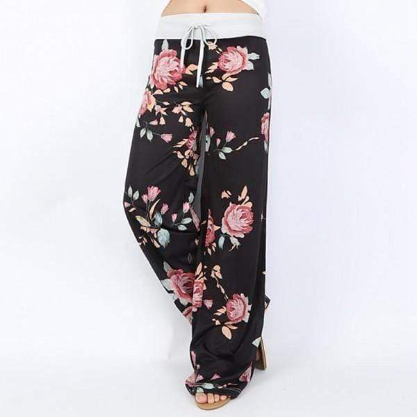 yoyoyoyoga.com Palazzo Pants Black / XXS Casual Loose American Flag Striped Drawstring Palazzo Pants