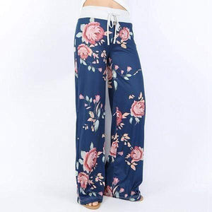 yoyoyoyoga.com Palazzo Pants Blue / XXS Casual Loose American Flag Striped Drawstring Palazzo Pants