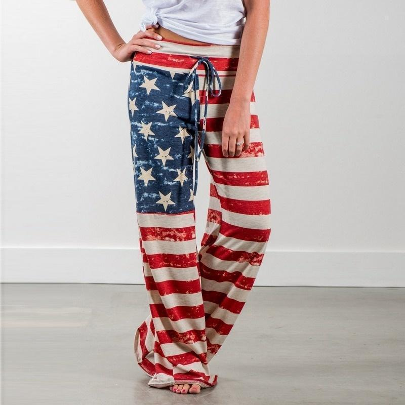 yoyoyoyoga.com Palazzo Pants Flag1 / XXS Casual Loose American Flag Striped Drawstring Palazzo Pants