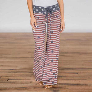 yoyoyoyoga.com Palazzo Pants Flag2 / XXS Casual Loose American Flag Striped Drawstring Palazzo Pants