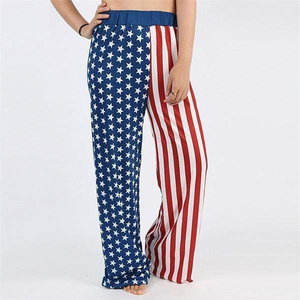 yoyoyoyoga.com Palazzo Pants Flag3 / XXS Casual Loose American Flag Striped Drawstring Palazzo Pants