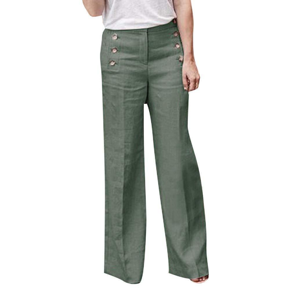yoyoyoyoga.com Palazzo Pants Green / S Cotton Linen Solid Color Casual Button Wide Leg Pants