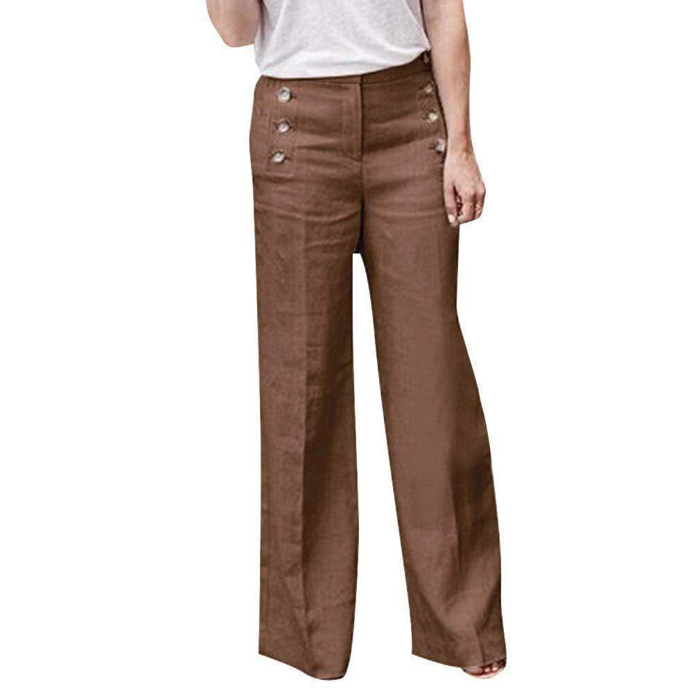 yoyoyoyoga.com Palazzo Pants Khaki / S Cotton Linen Solid Color Casual Button Wide Leg Pants