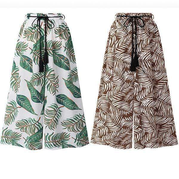 yoyoyoyoga.com Palazzo Pants ¡¾MOST POPULAR¡¿White+Brown£¨$27.79 per pcs£© / M Leaf Print Boho Elastic Waist Wide Leg Beach Pants