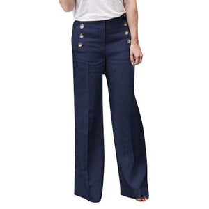 yoyoyoyoga.com Palazzo Pants Navy / S Cotton Linen Solid Color Casual Button Wide Leg Pants