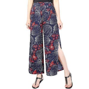 yoyoyoyoga.com Palazzo Pants Red / M Ladies Vintage Slim Wide Leg Split Casual Pants