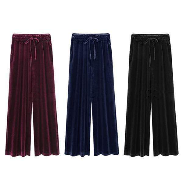 yoyoyoyoga.com Palazzo Pants ¡¾SPECIAL OFFER¡¿3 Colors Mixed£¨27.79 per pcs£© / M Velvet Drawstring Elastic Waist Wide Leg Pants