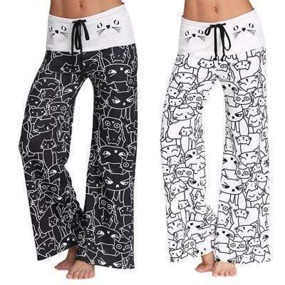 yoyoyoyoga.com Palazzo Pants White+Black£¨$18.79 per pcs£© / S Cat Print Beach Lounge Pajama Pants Yoga Pants