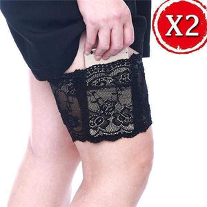 yoyoyoyoga.com PERSONAL HEALTH S / ¡¾$10.99/Pack¡¿2*Black Anti Chafing Lace Thigh Garter Say Goodbye To Skin-To-Skin Chafing & Irritation