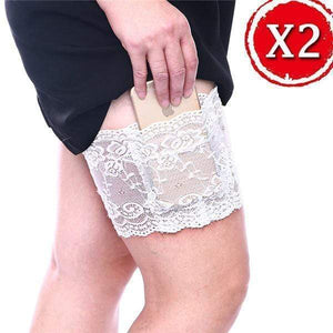 yoyoyoyoga.com PERSONAL HEALTH S / ¡¾$10.99/Pack¡¿2*White Anti Chafing Lace Thigh Garter Say Goodbye To Skin-To-Skin Chafing & Irritation