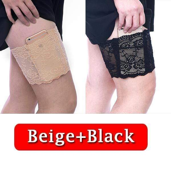 yoyoyoyoga.com PERSONAL HEALTH S / ¡¾$10.99/Pack¡¿Beige+Black Anti Chafing Lace Thigh Garter Say Goodbye To Skin-To-Skin Chafing & Irritation