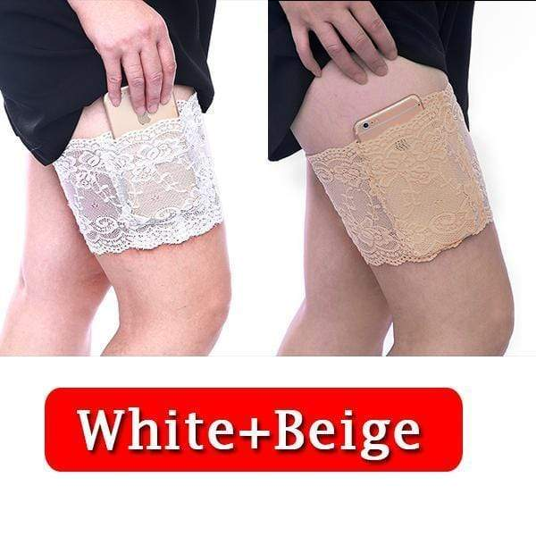 yoyoyoyoga.com PERSONAL HEALTH S / ¡¾$10.99/Pack¡¿White+Beige Anti Chafing Lace Thigh Garter Say Goodbye To Skin-To-Skin Chafing & Irritation