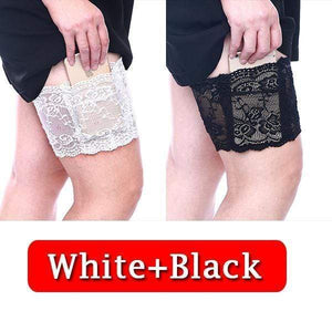 yoyoyoyoga.com PERSONAL HEALTH S / ¡¾$10.99/Pack¡¿White+Black Anti Chafing Lace Thigh Garter Say Goodbye To Skin-To-Skin Chafing & Irritation
