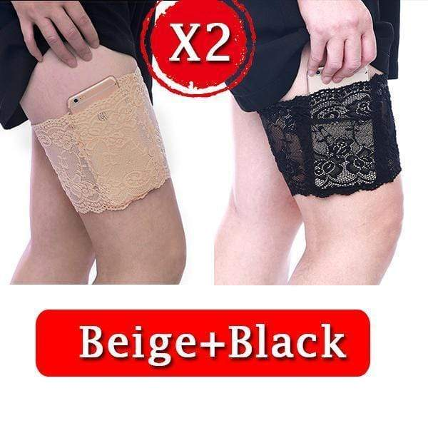 yoyoyoyoga.com PERSONAL HEALTH S / ¡¾$8.99/Pack¡¿2*Black+2*Beige Anti Chafing Lace Thigh Garter Say Goodbye To Skin-To-Skin Chafing & Irritation