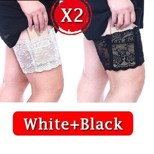 yoyoyoyoga.com PERSONAL HEALTH S / ¡¾$8.99/Pack¡¿2*Black+2*White Anti Chafing Lace Thigh Garter Say Goodbye To Skin-To-Skin Chafing & Irritation