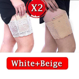 yoyoyoyoga.com PERSONAL HEALTH S / ¡¾$8.99/Pack¡¿2*White+2*Beige Anti Chafing Lace Thigh Garter Say Goodbye To Skin-To-Skin Chafing & Irritation