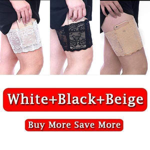 yoyoyoyoga.com PERSONAL HEALTH S / ¡¾$9.99/Pack¡¿White+Black+Beige Anti Chafing Lace Thigh Garter Say Goodbye To Skin-To-Skin Chafing & Irritation