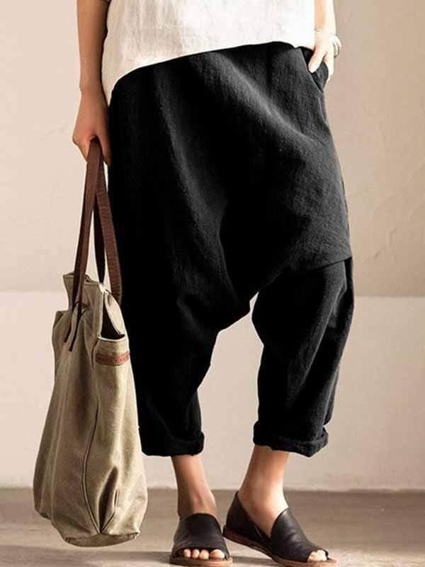 yoyoyoyoga.com Plus Size Bottoms Black / L Plus size cotton linen harem pants