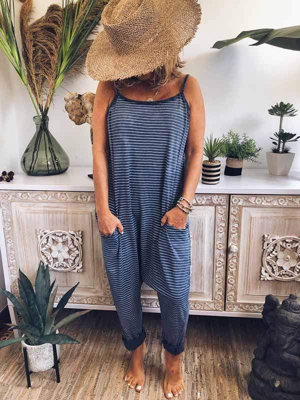 yoyoyoyoga.com Plus Size Bottoms Blue / S Blue Sling Striped Jumpsuit