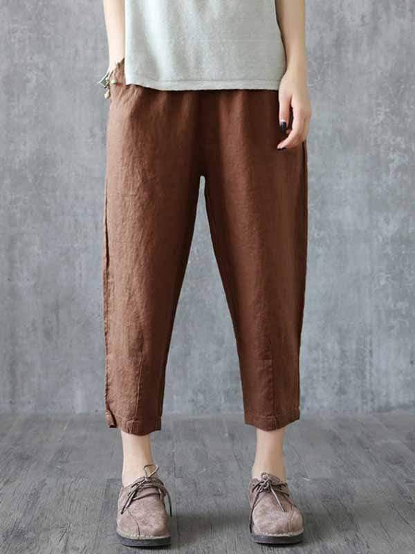 yoyoyoyoga.com Plus Size Bottoms Coffee / L Plus size cotton linen casual pants
