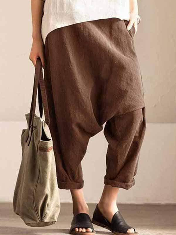 yoyoyoyoga.com Plus Size Bottoms Coffee / L Plus size cotton linen harem pants