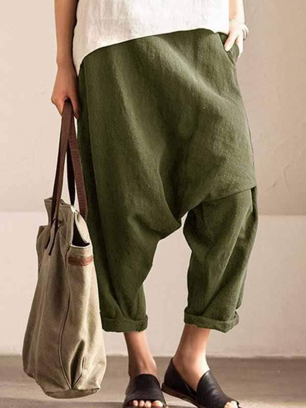 yoyoyoyoga.com Plus Size Bottoms Green / L Plus size cotton linen harem pants