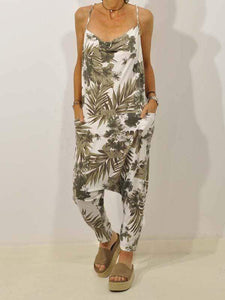 yoyoyoyoga.com Plus Size Bottoms Green / S Leaf Print Sling Jumpsuit