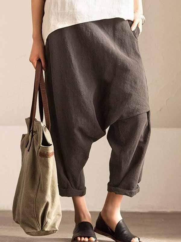 yoyoyoyoga.com Plus Size Bottoms Grey / L Plus size cotton linen harem pants