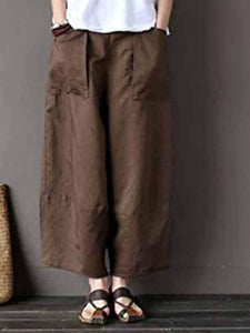 yoyoyoyoga.com Plus Size Bottoms Khaki / M Cotton linen wide-leg pants