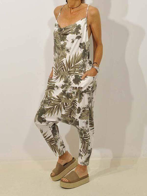 yoyoyoyoga.com Plus Size Bottoms Leaf Print Sling Jumpsuit