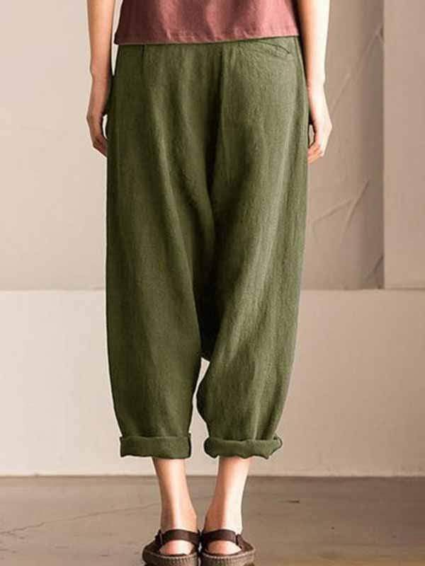 yoyoyoyoga.com Plus Size Bottoms Plus size cotton linen harem pants