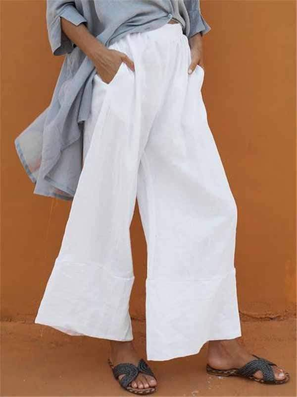 yoyoyoyoga.com Plus Size Bottoms Plus size cotton linen nine-point wide-leg pants