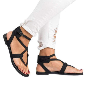 yoyoyoyoga.com Shoes Black / US5.5 2019 New Cross Lace Flat Women's Sandals-Suitable for any foot type