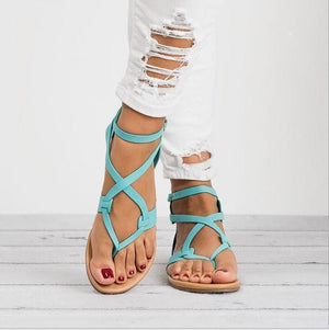 yoyoyoyoga.com Shoes Blue / US5.5 2019 New Cross Lace Flat Women's Sandals-Suitable for any foot type