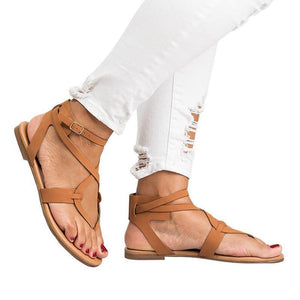 yoyoyoyoga.com Shoes Brown / US5.5 2019 New Cross Lace Flat Women's Sandals-Suitable for any foot type