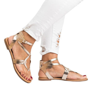 yoyoyoyoga.com Shoes Gold / US5.5 2019 New Cross Lace Flat Women's Sandals-Suitable for any foot type