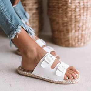 yoyoyoyoga.com Shoes White / US5.5 2019 New Adjustable Herb Sole Flat Women's Sandals-Suitable for any foot type.Prevent athlete's foot