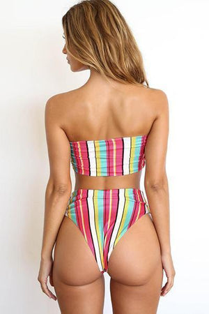 yoyoyoyoga.com Sports Bra Colorful / S Colour Stripe Bandeau Bikini Set