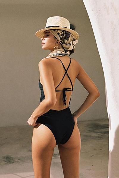 yoyoyoyoga.com Swimsuit Black / S Sexy Halter Lace-Up Embroidered One Piece Swimsuit