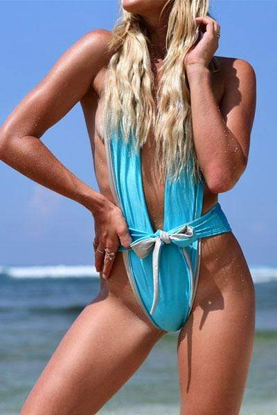 Trendy Multicolor Lace-Up One-Piece Swimsuit