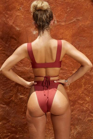 yoyoyoyoga.com Swimsuit Red / S Sexy Solid Color lace-up Bikini Set