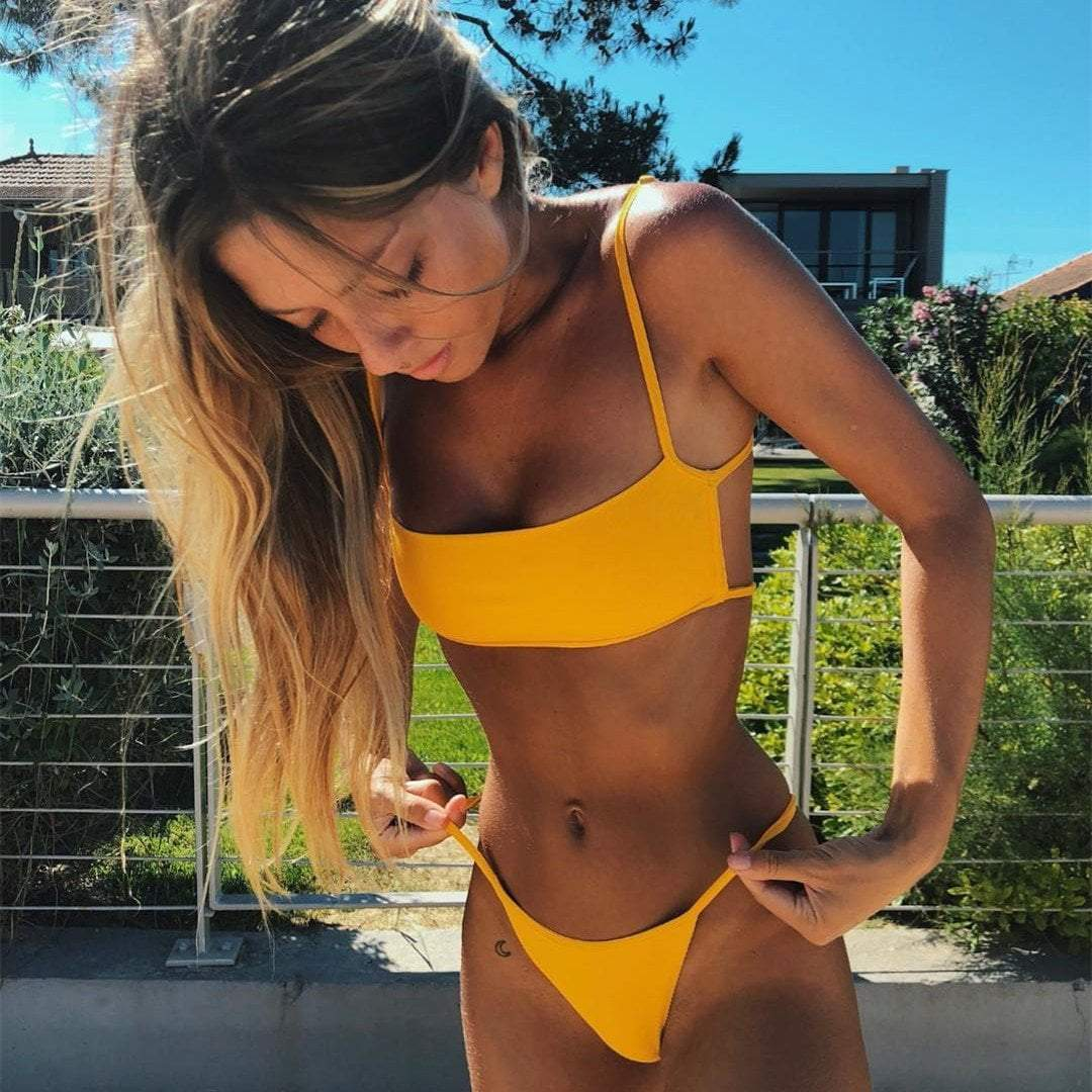 yoyoyoyoga.com Swimsuit Yellow / S Lace-up Split Two-piece Swimsuit