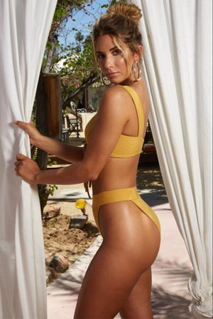 yoyoyoyoga.com Swimsuit Yellow / S Sexy Solid Color lace-up Bikini Set