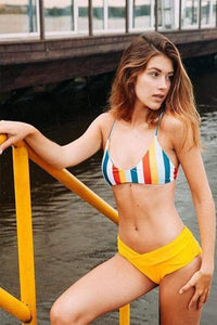 yoyoyoyoga.com Swimsuit Yellow / S Sexy Yellow Striped Bikini Set