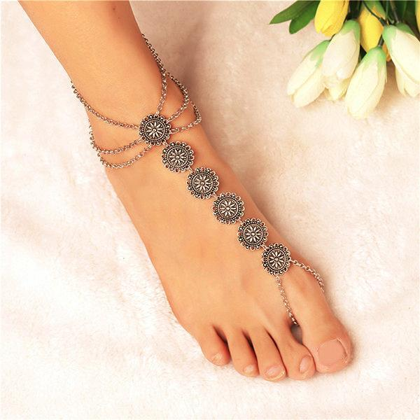 yoyoyoyoga.com Yoga Accessories antique silver / One Size Bohemian Carved Multi-Layer Tassel Anklet