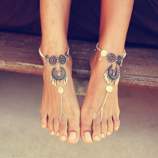 yoyoyoyoga.com Yoga Accessories Antique Silver / One Size Bohemian Openwork Carved Tassel Anklet
